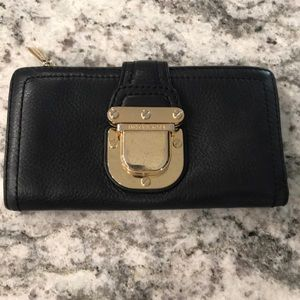 Michael Kors Black Leather Wallet with Gold Buckle